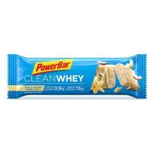 Packung mit 18 Riegeln PowerBar Clean Whey - Vanilla Coconut Crunch